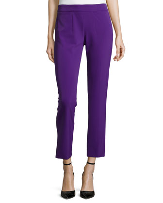Low-Rise Cropped Pants, Iris