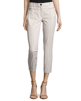 Low-Rise Cropped Pants, Pebble