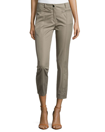Low-Rise Cropped Pants, Sage