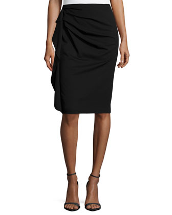Side-Ruffle Pencil Skirt, Black
