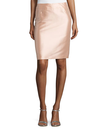 High-Waist Pencil Skirt, Desert Rose