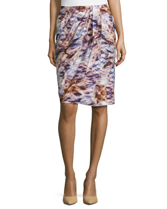 Floral-Print Faux-Wrap Pencil Skirt, Fantasy