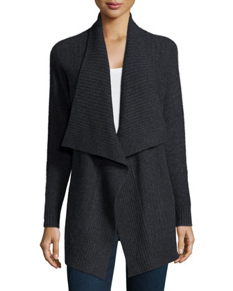 Mixed-Stitch Draped Cashmere Cardigan