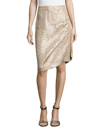High-Waist Metallic Pencil Skirt, Champagne