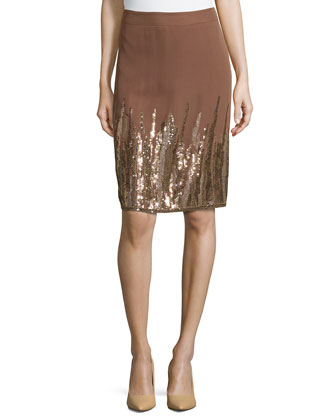 Embellished Low-Rise Pencil Skirt, Noisette