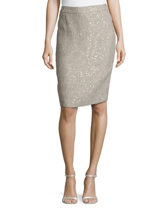 Low-Rise Metallic Pencil Skirt, Platinum