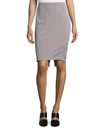 Mid-Rise Pencil Skirt, Platinum