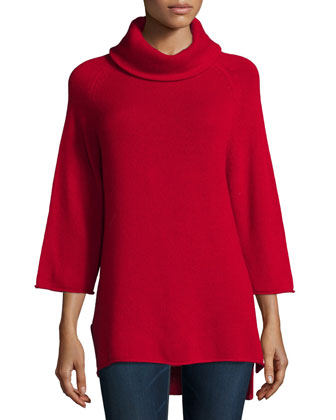 Cowl-Neck 3/4-Sleeve Cashmere Tunic