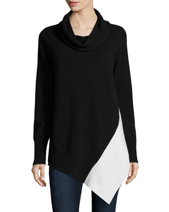 Cowl-Neck Colorblock Cashmere Tunic