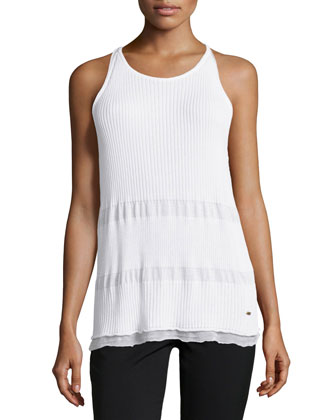 Sleeveless Layered-Hem Tank Top, White