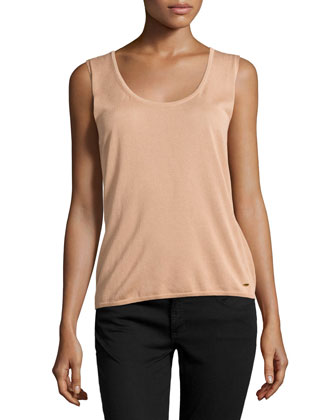 Sleeveless Scoop-Neck Top, Desert Rose