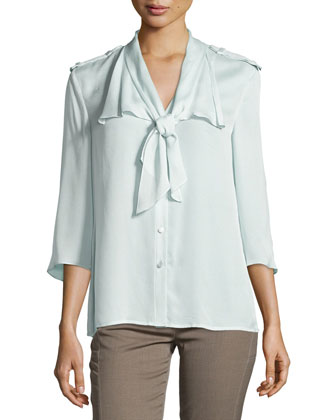Three-Quarter-Sleeve Tie-Neck Blouse, Opal