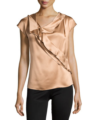 Cap-Sleeve Asymmetric Ruffle Top, Camel