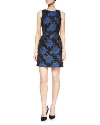 Ilene Floral-Jacquard Fitted Dress