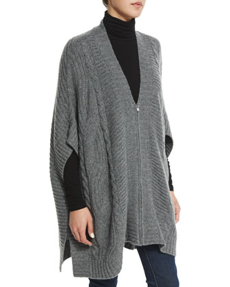 Cashmere Zip-Front Cable-Knit Poncho