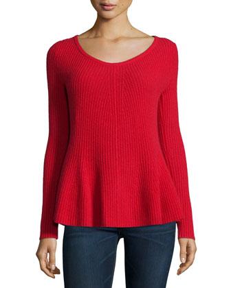 Peplum Cashmere Sweater