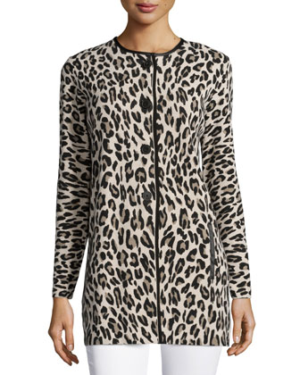 Animal-Print Long Coat