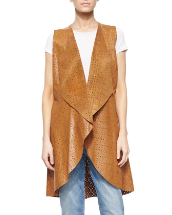 Perforated Leather Long Vest
