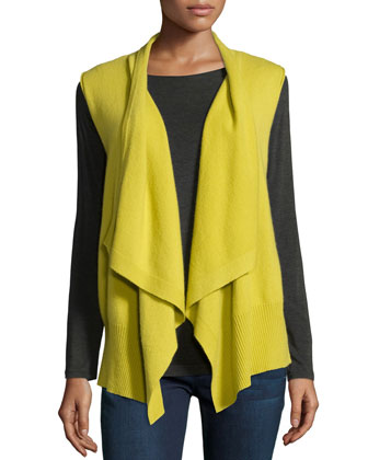 Sleeveless Draped Cashmere Vest