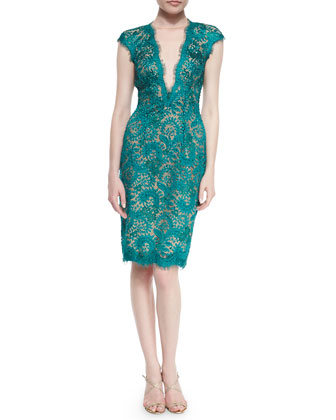Lace Cap-Sleeve Sheath Dress, Emerald