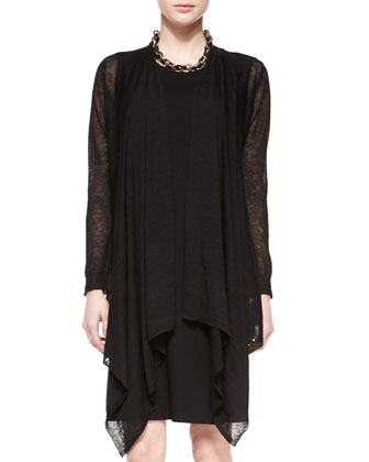 Hemp-Blend Cascading Cardigan & Sleeveless Faux-Wrap Jersey Dress