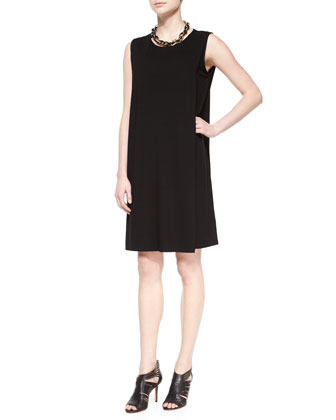 Sleeveless Faux-Wrap Jersey Dress