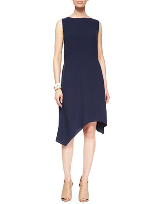 Sleeveless Silk Asymmetric Dress