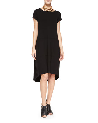 Cap-Sleeve Jersey High-Low Dress, Petite