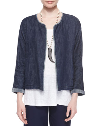 Double-Weave Jacket, Linen Jersey Long Tank & Washable-Crepe Cropped Pants, ...