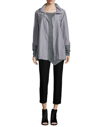 Ako Hooded A-line Jacket, Melange Cotton Mesh Asymmetric Tunic & Washable ...