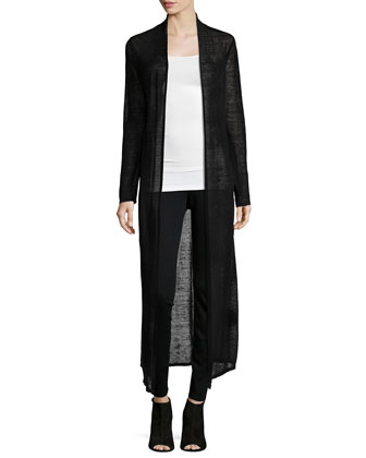 Washable Sheer Hemp Extra Long Cardigan, Petite
