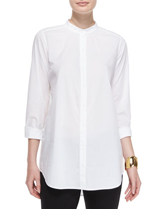 Classic Long-Sleeve Organic Cotton Shirt, Petite