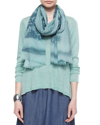 Linen Delave Box Top, Cotton Spray Scarf & Denim A-line Skirt