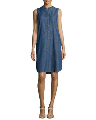 Sleeveless Button-Front Denim Dress