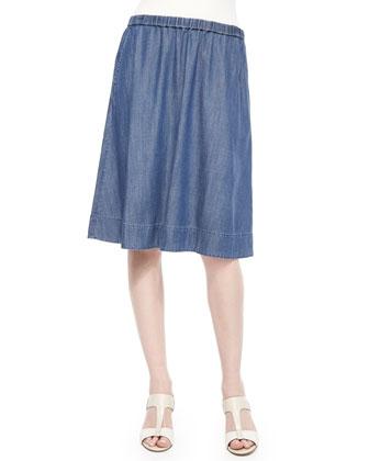 Linen Delave Box Top, Cotton Spray Scarf & Denim A-line Skirt