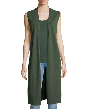 Long Cashmere Vest W/ Side Slits