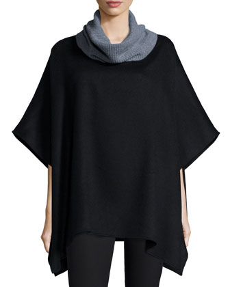 Ribbed Cowl-Neck Cashmere Poncho