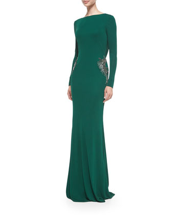 Long-Sleeve Draped-Back Beaded Gown, Emerald