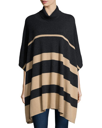 Cowl-Neck Striped Cashmere Poncho