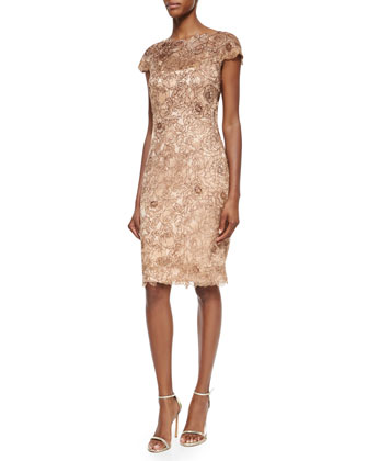 Cap-Sleeve Lace Cocktail Dress, Taupe