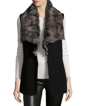 Leather Vest with Rabbit Fur Collar