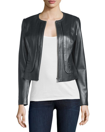 Pleated Front Leather Jacket