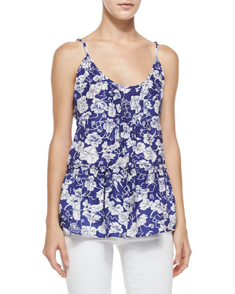 Pavril Silk Floral Tank, Eclipse