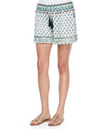 Tesori Floral Cotton Shorts, Coconut