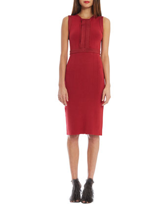 Jewel-Neck Sleeveless Sheath Dress, Soho Red
