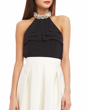 Embellished-Neckline Silk Halter Blouse, Black