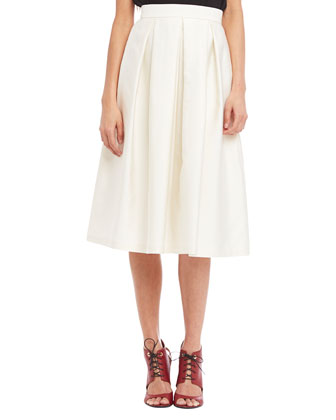 Embellished-Neckline Silk Halter Blouse & Florence Pleated Midi Skirt