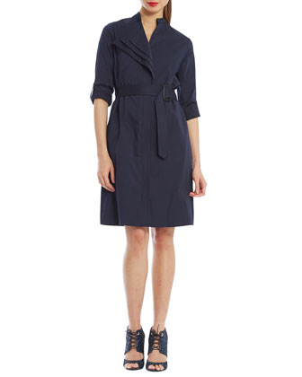 Spiga Belted Cotton-Stretch Shirtdress