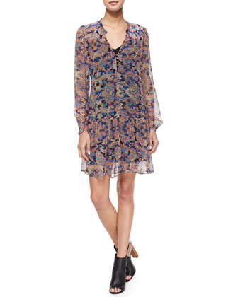 Taj Paisley Chiffon Mini Dress, Black/Multicolor