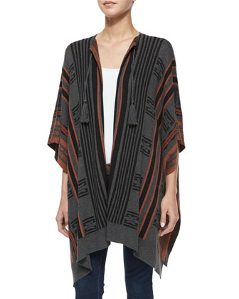 Striped Open-Front Poncho, Rust